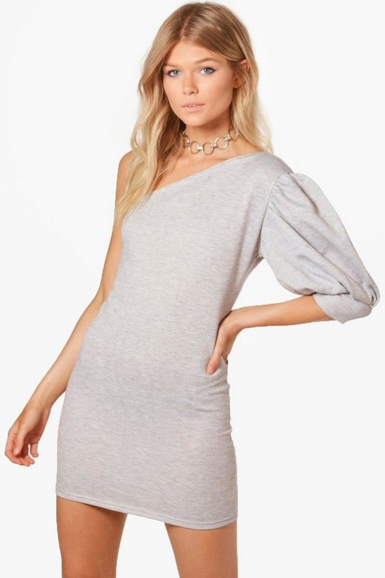 Petite Becky Puff Sleeve Sweat Dress