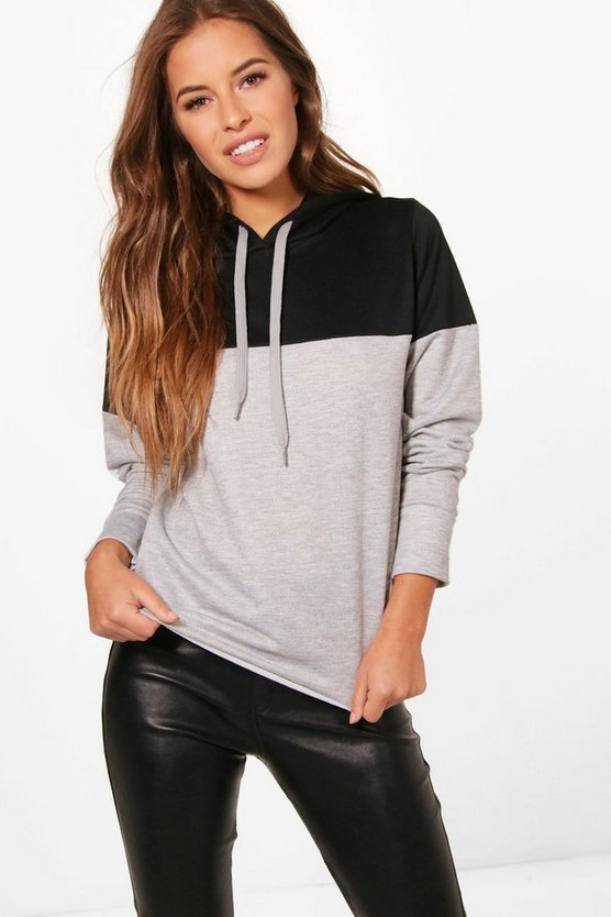 Petite Colour Block Raw Hem Hoodie