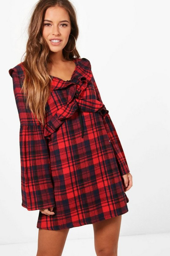 Petite Jessica Check Frill Detail Dress