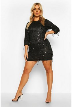 Womens Black Plus Tassel Sequin Shift Dress