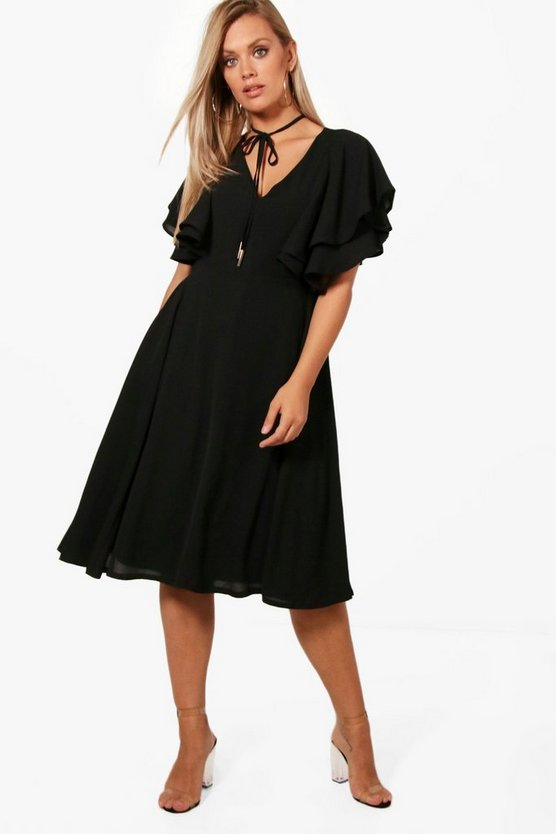 Plus Robyn Ruffle Angel Sleeve Tie Skater Dress