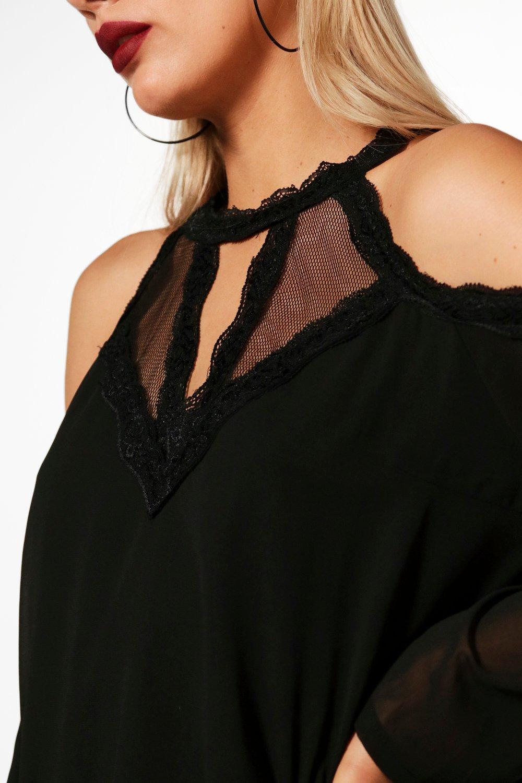 Trim Shoulder Top wine Plus Lace Woven Cold q5XXHwt