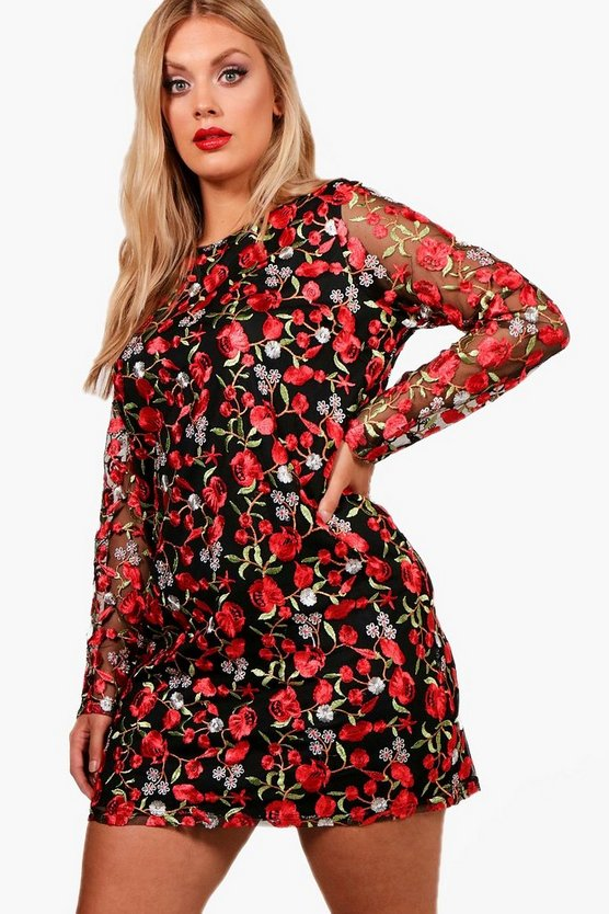 Plus Embroidered Long Sleeve Shift Dress