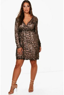 Plus Two Tone Wrap Sequin Dress, Black, FEMMES