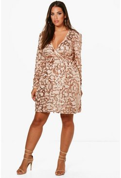 Plus Two Tone Wrap Sequin Dress, Rose, Donna