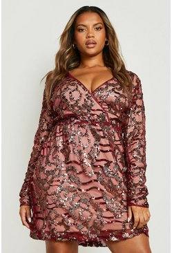 Womens Wine Plus Two Tone Wrap Sequin Dress