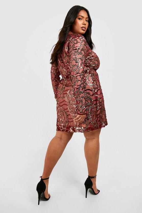 Plus Two Tone Wrap Sequin Dress