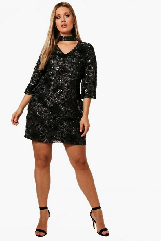 Plus Patterned Sequin Choker Dress
