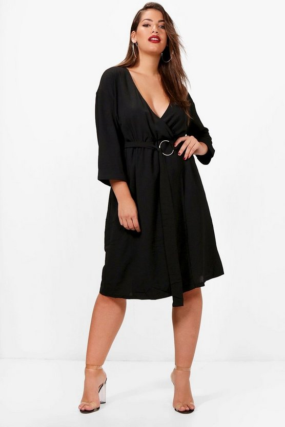 Womens Black Plus Ring Belted Wrap Dress