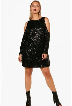 Dam Black Plus Open Shoulder Pattern Sequin Dress