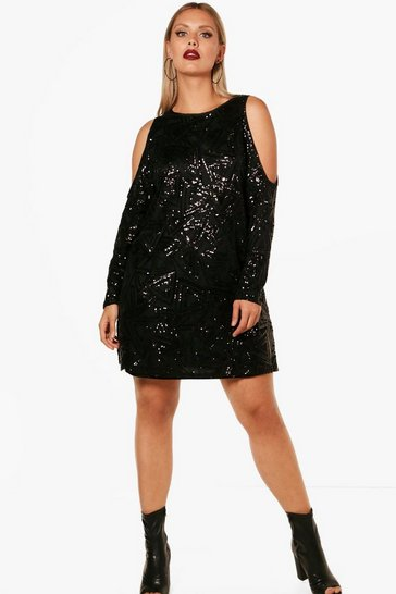 Womens Black Plus Open Shoulder Pattern Sequin Dress