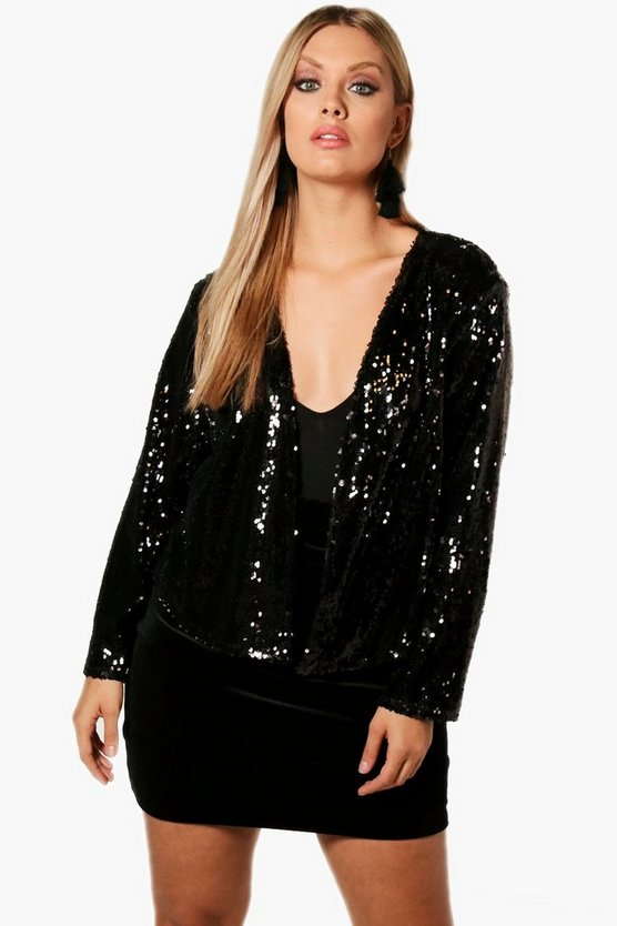 Plus Power Shoulder Waterfall Sequin Jacket