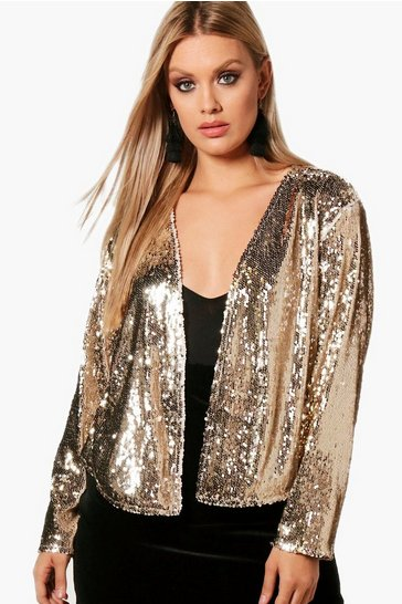 Womens Silver Plus  Power Shoulder Waterfall Sequin Jacket