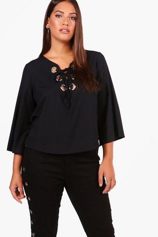 Plus Eyelet Lace Up Woven Blouse