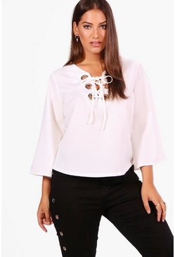 Womens Ivory Plus Eyelet Lace Up Woven Blouse