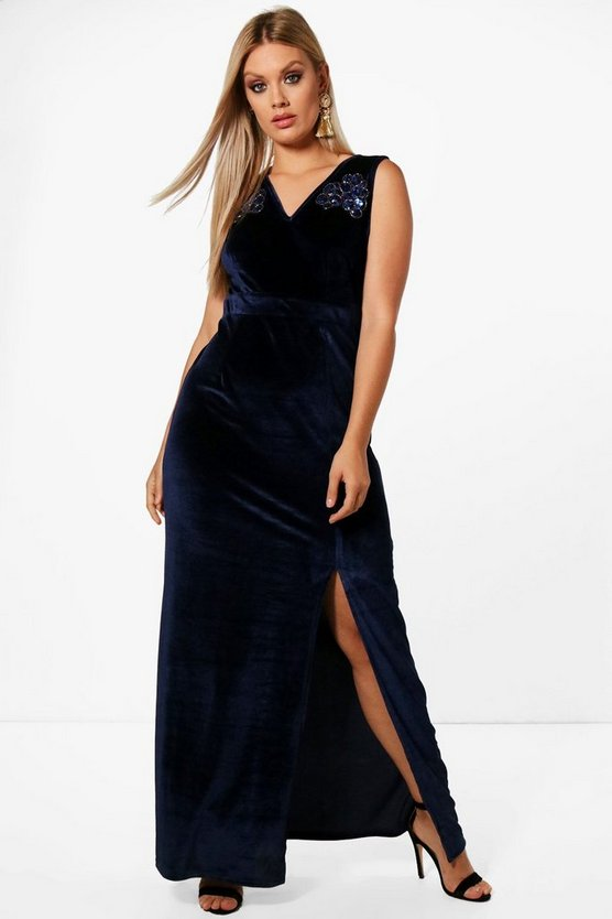 Plus Plunge Trim Detail Velvet Maxi