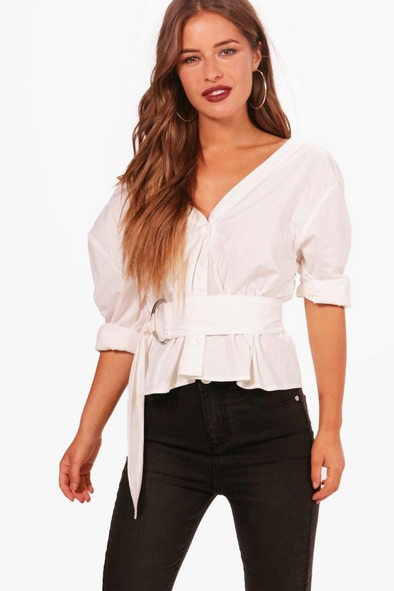 Petite Molly Off The Shoulder Belted Shirt