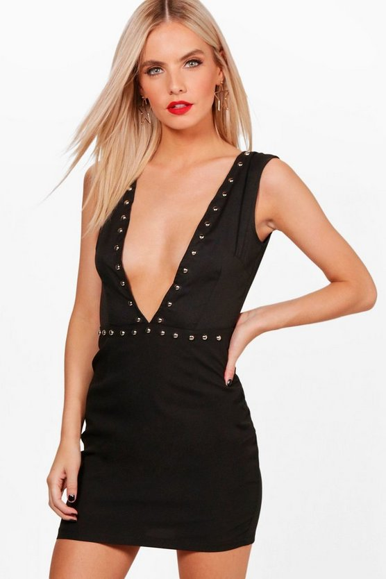 Petite Studded Plunge Neck Bodycon Dress