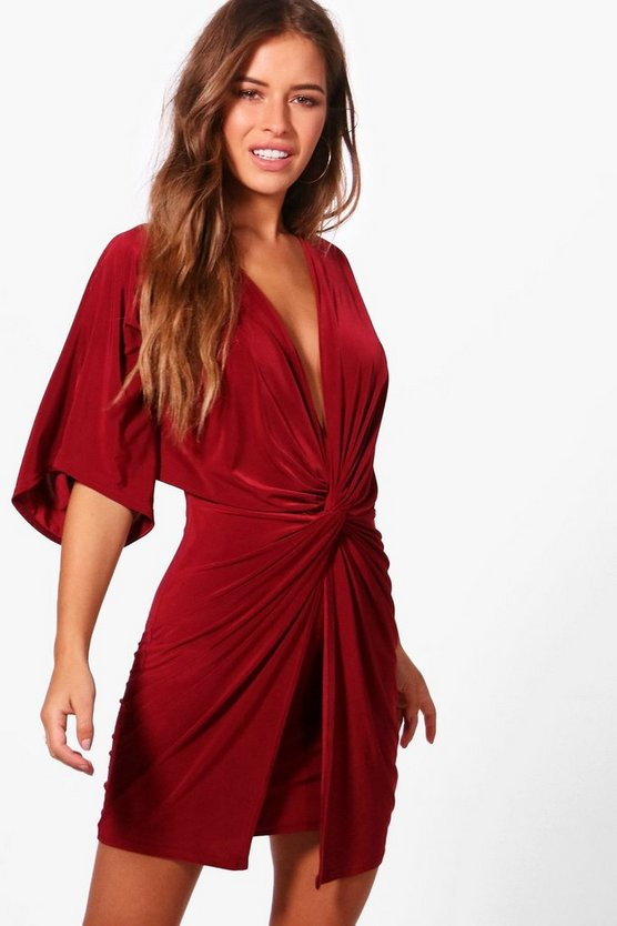 Womens Wine Petite Twist Front Mini Dress