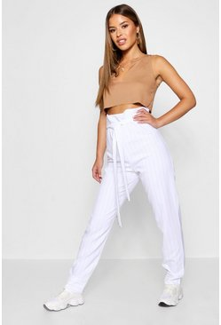 Womens White Petite Pinstripe Paperbag Tapered Pants