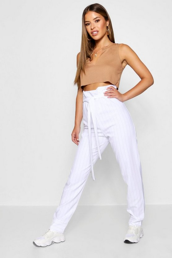 Womens White Petite Pinstripe Paperbag Tapered Trouser