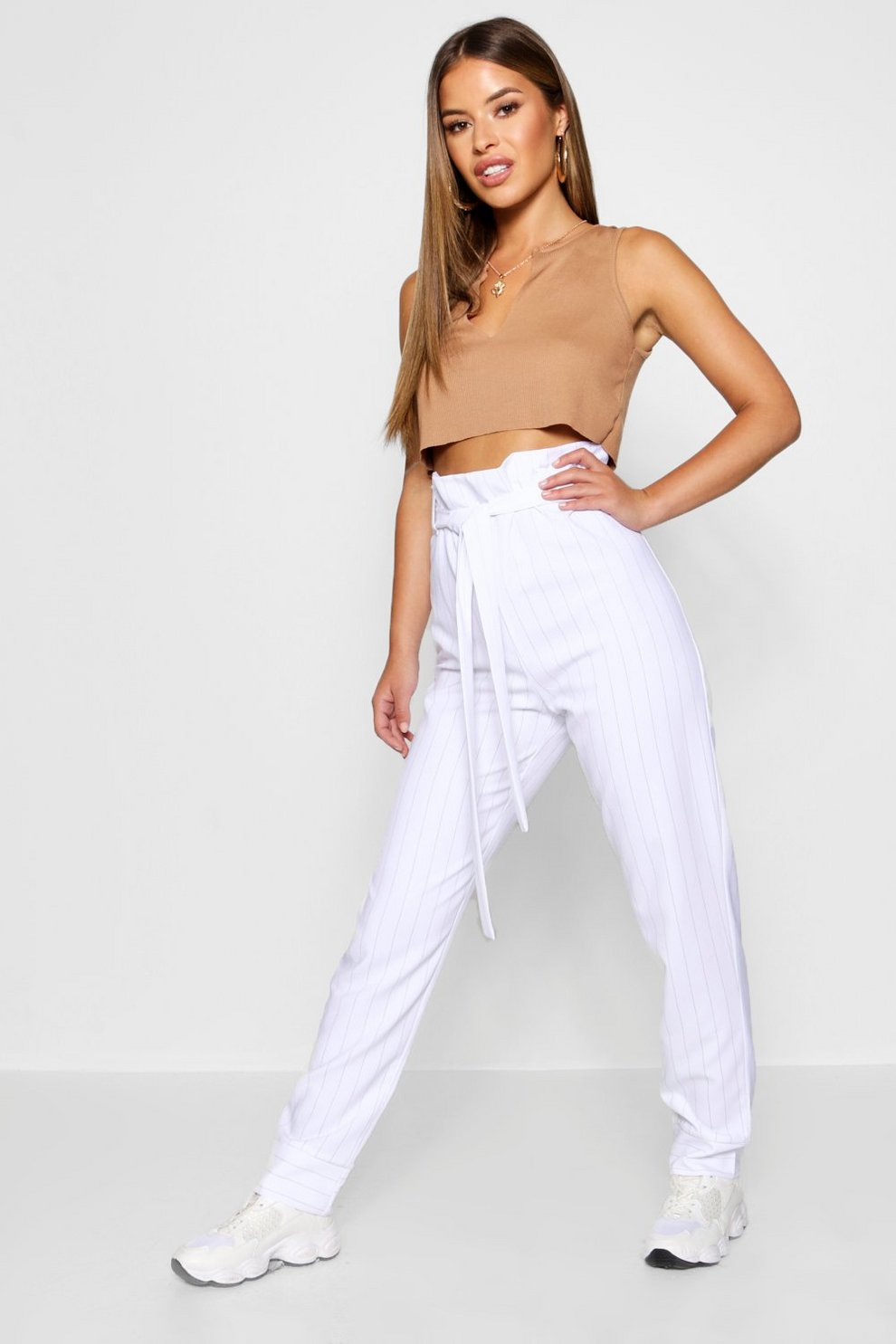 5cb0a9fe66626 Petite Pinstripe Paperbag Tapered Trouser | Boohoo
