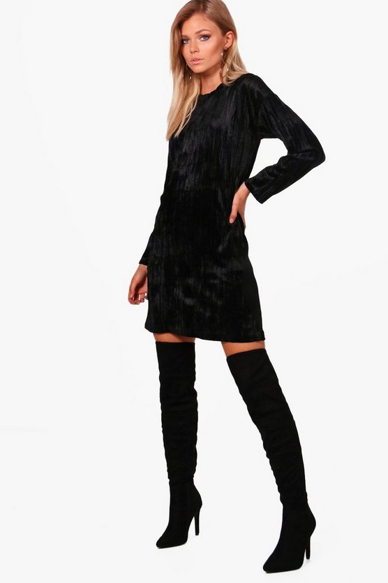 Petite Perrie Oversized Velvet T Shirt Dress