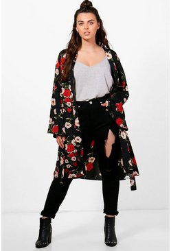 Womens Black Plus Kerry Floral Belted Kimono