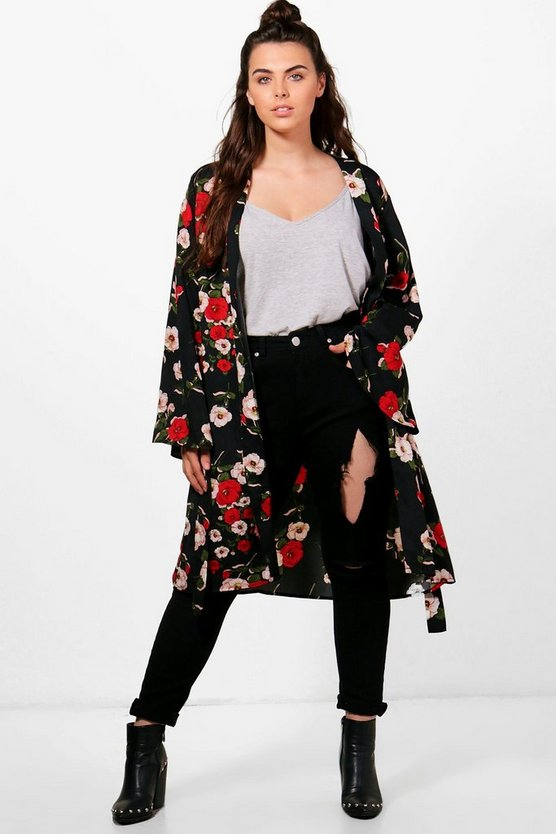 Plus Kerry Floral Belted Kimono