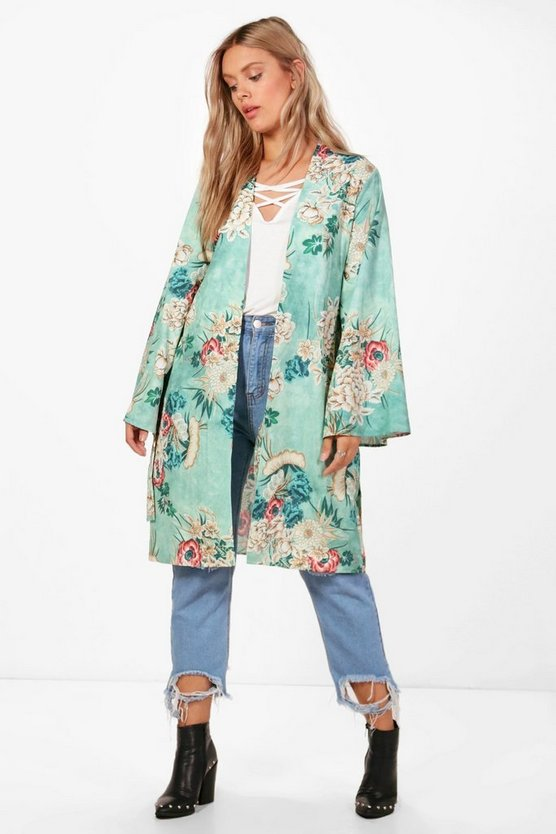 Plus Nadia Floral Belted Kimono