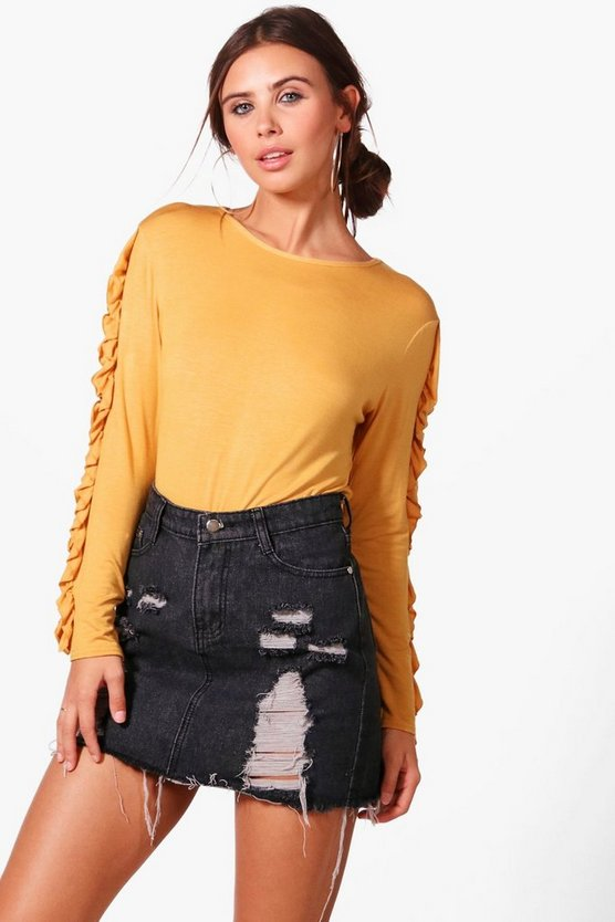 Petite Jessica Frill Long Sleeve Top