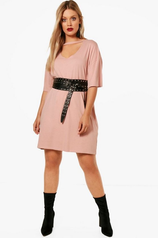 Plus Choker T-Shirt Dress