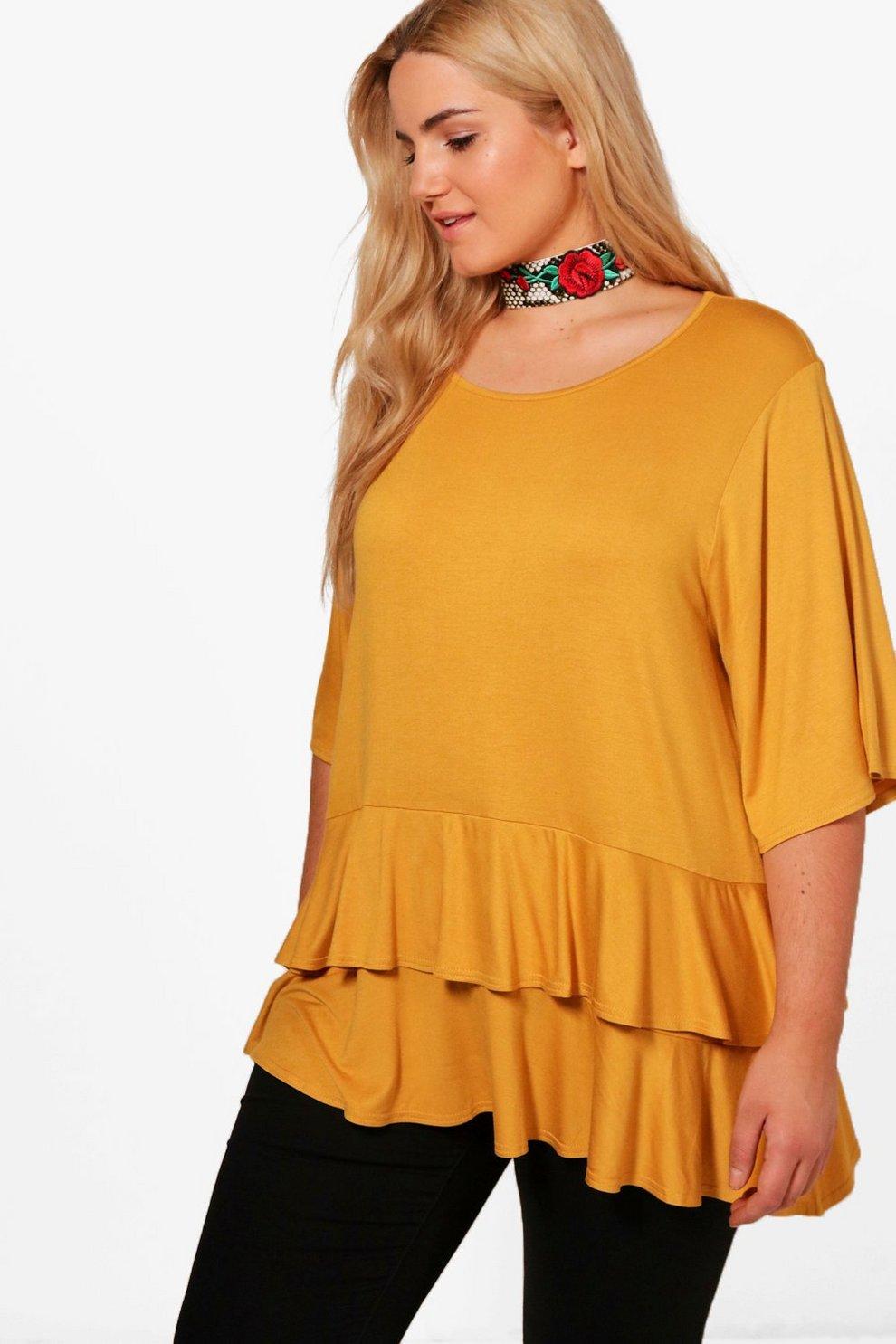 ca5223b073f Plus Ruffle Layered Oversized T Shirt