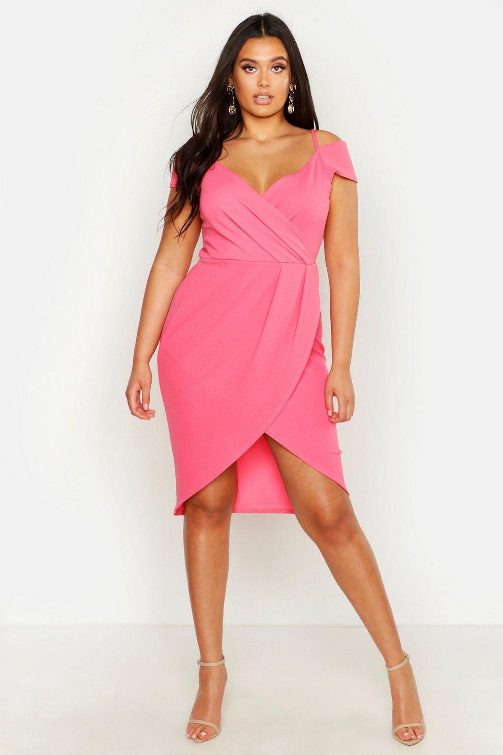 b261f404eb506 Plus Open Shoulder Wrap Bodycon Dress | Boohoo