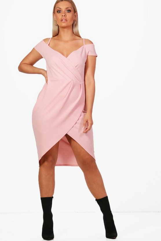 Plus Open Shoulder Wrap Bodycon Dress