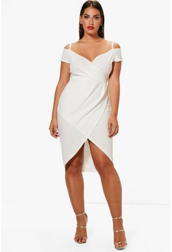Plus Open Shoulder Wrap Bodycon Dress, Ivory, FEMMES