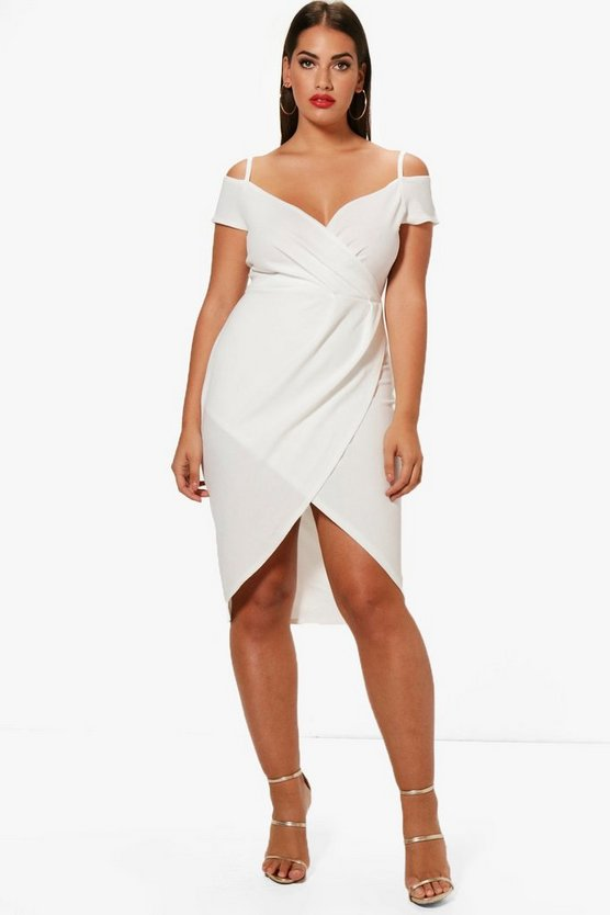 Womens Ivory Plus Open Shoulder Wrap Bodycon Dress