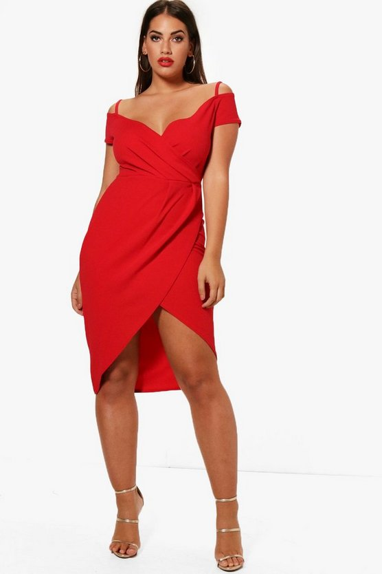Plus Open Shoulder Wrap Bodycon Dress, Red, DAMEN