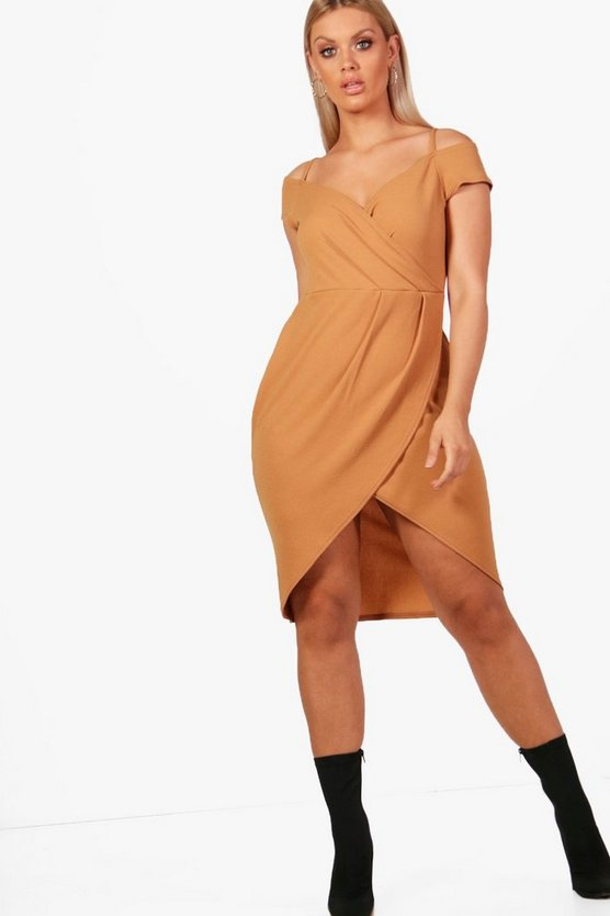 Plus Open Shoulder Wrap Bodycon Dress, Toffee, DAMEN
