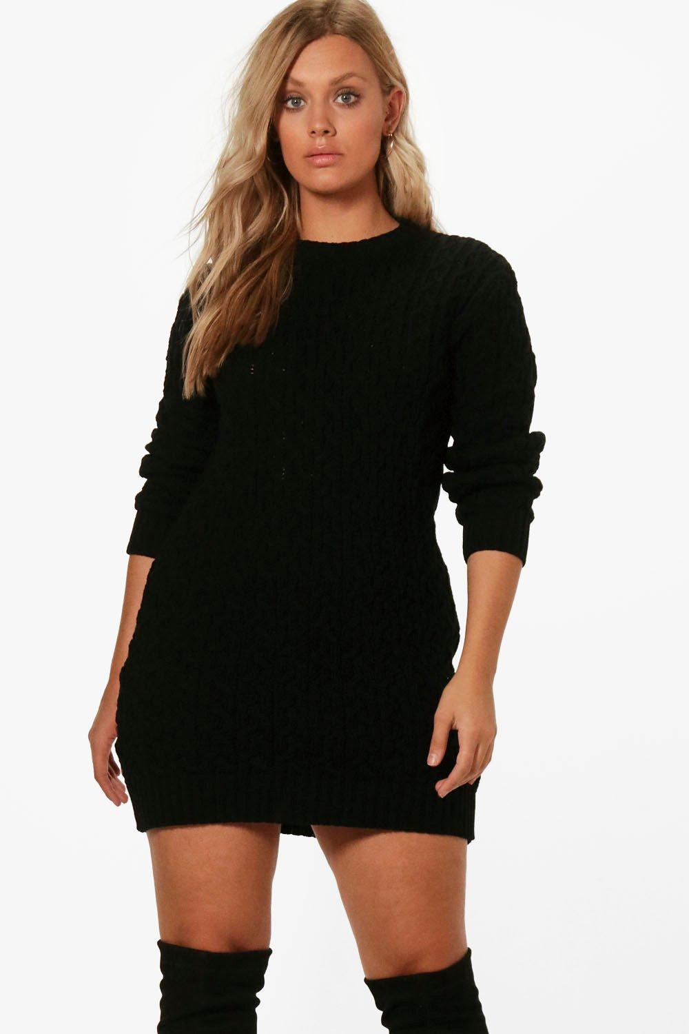 1f057fbedb6 Womens Black Plus Cable Knitted Jumper Dress. Hover to zoom