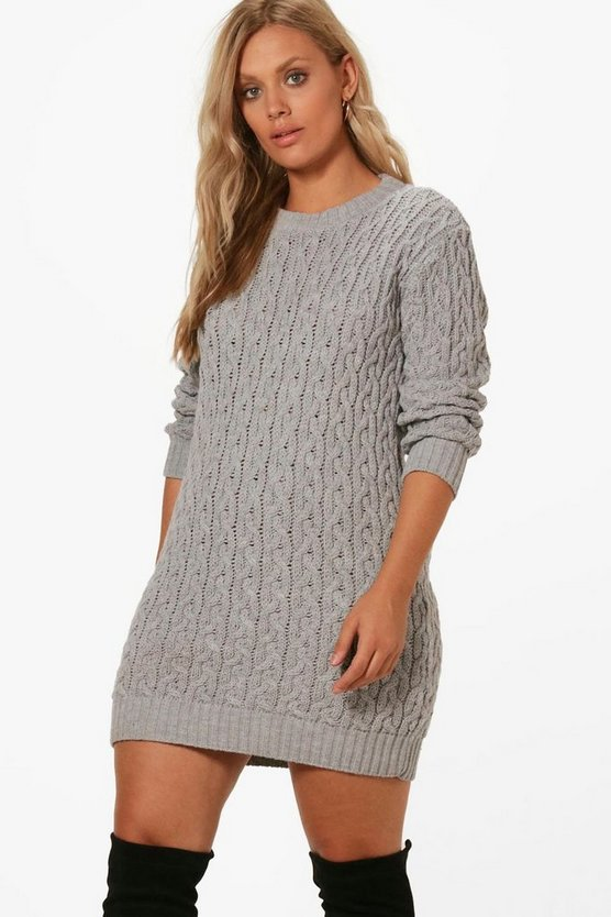 Plus Cable Knitted Jumper Dress