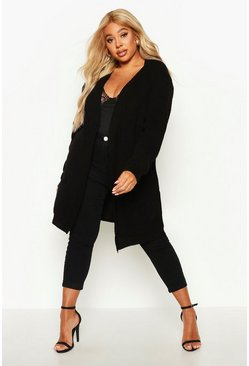 Womens Black Plus  Boyfriend Knitted Cardigan