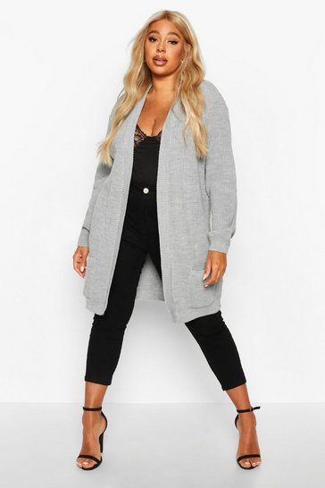 Womens Grey Plus  Boyfriend Knitted Cardigan