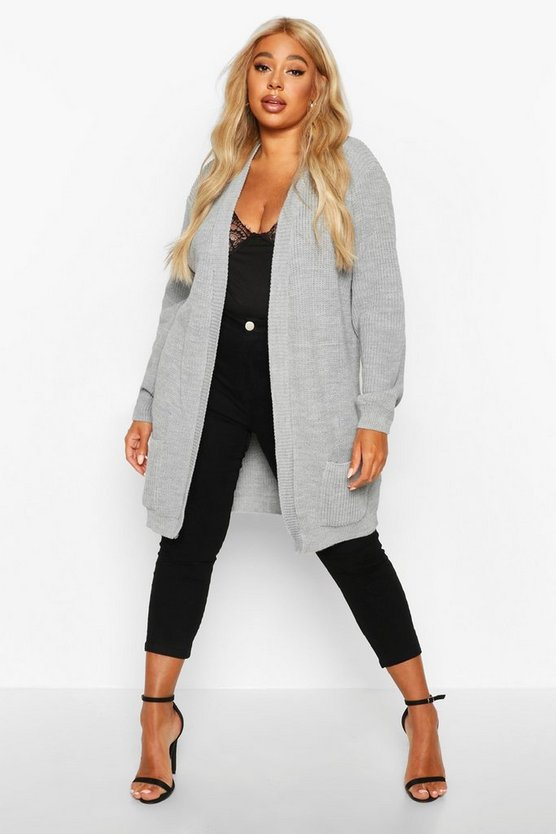 Plus  Boyfriend Knitted Cardigan
