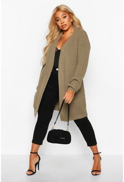 Womens Khaki Plus  Boyfriend Knitted Cardigan