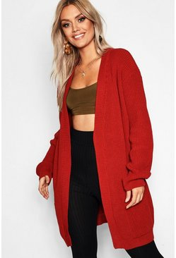 Womens Rust Plus  Boyfriend Knitted Cardigan