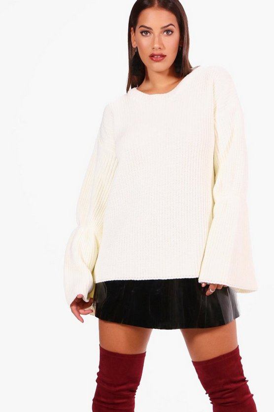 Womens Plus Flared Sleeve Knitted Sweater