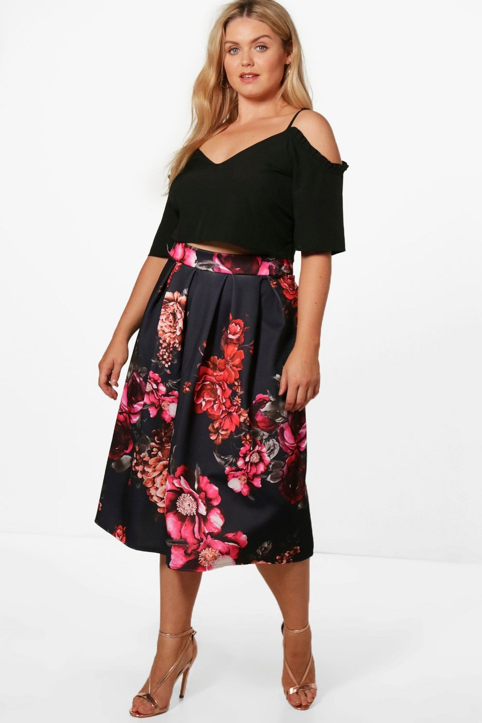b03aadc217e Plus Stacey Floral Print Scuba Midi Skater Skirt   Boohoo