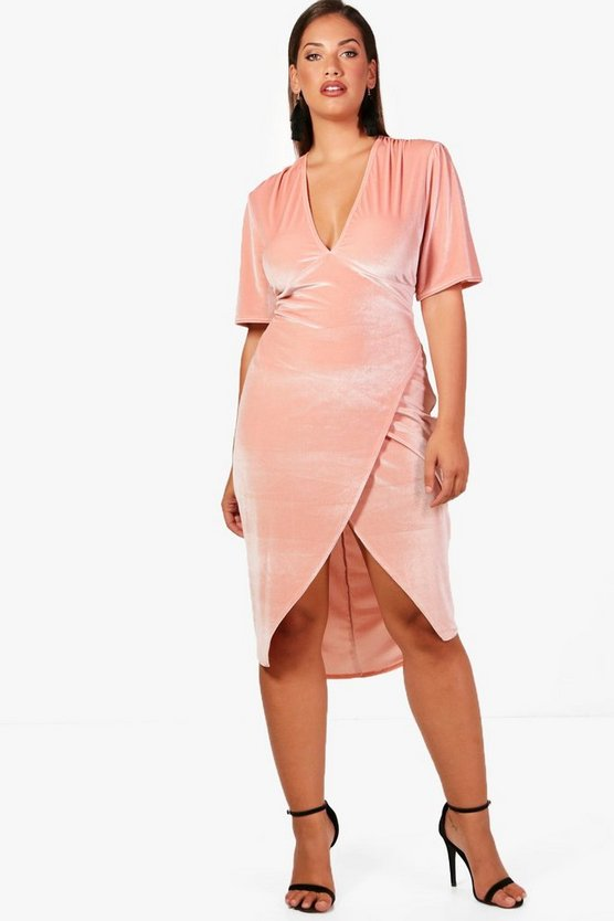 Plus Velvet Plunge Neck Wrap Dress