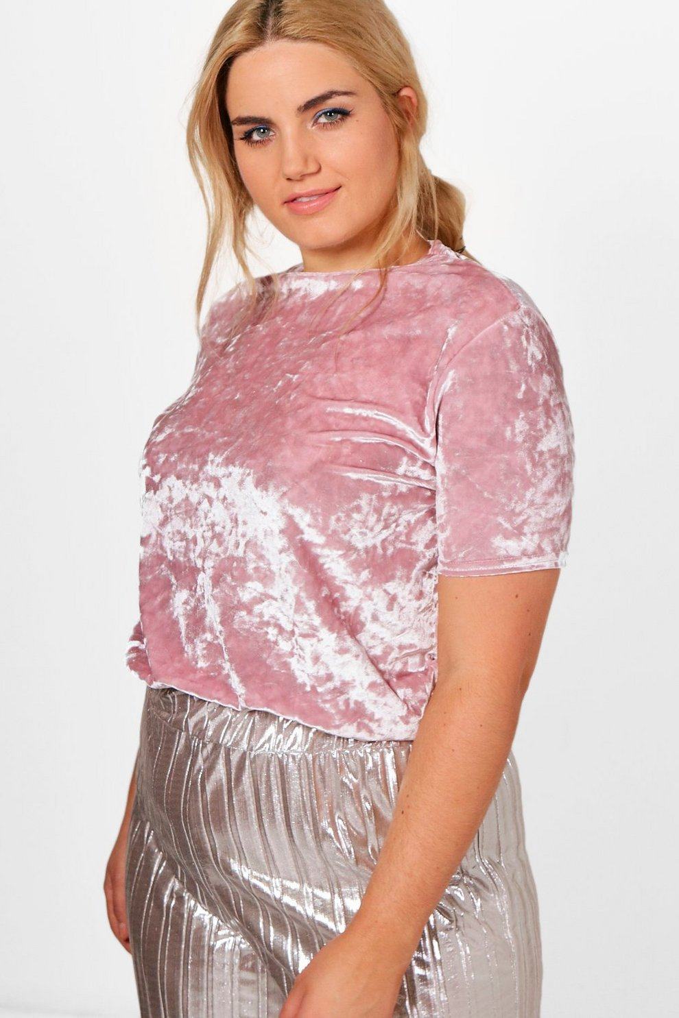2362bf7a9c Plus Runa Crushed Velvet T-Shirt | Boohoo